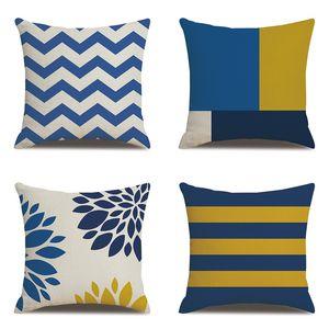 45*45cm Hot Mediterranean Style Print Linen Pillowcase Geometric Pattern Office Pillow Case Car Sofa Home Cushion Cover