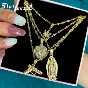 Flatfoosie New Multilayer Portrait Pistol Pendant Necklaces For Women Punk Heart Leaf Crystal Choker Necklace Jewelry Party Gift