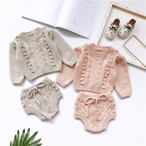 INS Newest Kids Boys Girls Sweaters Clothng Sets Long Sleeve Cardigans Straps Shorts 2pieces Suits Infant Cute Clothing Sets