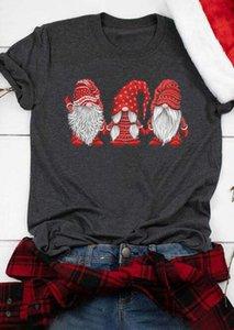 Christmas Gnomes Santa Claus Print Tshirt Women O-neck Short Sleeve Tshirts Harajuku Ulzzang Kawaii Shirt Ladies Korean Clothes 210226