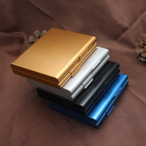 Aluminium Alloy 20 Cigarettes Box Metal Cigarette Storage Tobacco Case Container Cigarette Holder Smoking Gift 4 colors 443 R2