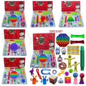 Christmas Advent Calendar Fidget Toy 25 Days Countdown Blind Mystery Box Sensory Finger Toys Kids Push Bubbles Party Favor 25pcs set RRA4406