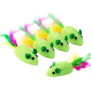 new Green braidedArtificial feathe mouse toy with funny sounds Funny cat toy cat supplies Scratch resistant animal toys