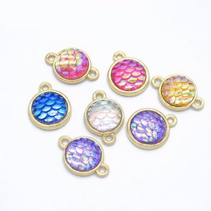 Bulk 100pcs mixed color mermaid Charms Resin scale connector charms Pendants for Jewelry Bracelet Necklace Making