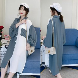 Maternity Tops & Tees Spring Autumn Loose Long Blouses Sleeve Blouse Clothes For Pregnant Women Patchwork Pregnancy Clothing Plus Size