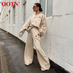 Ootn Moon Broderie Sweat-shirt surdimensionné Femmes Ensembles Casual Sans manches longues Hôtel Automne Hiver 2 pièces Pantalon tricoté