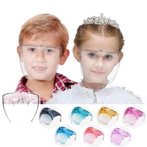 НОВЫЙ!!! Fashion Clear Full Face Shield Красочный прозрачный щит козырек Солнцезащитные очки ПК Антимазарный противотуманный ракс Очки Щит детей DHL оптом