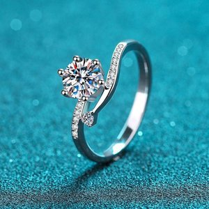 Cluster Rings 1 Diamond Test Passed Excellent Cut D Color Moissanite Twist Snowflake Engagement Ring Silver 925 Jewelry Female Gift