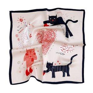 Cat Silk Scarf Fashion Foulard Satin Shawl Scarfs Small Size 53*53cm Square silk Hair   Head Scarves Women bandana