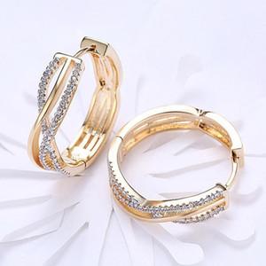 Zircon Earrings Geometric Lines Round Hoop Earrings For Women Earing Jewelry Gold Plated Earring Crystal Earings Kolczyki Gift