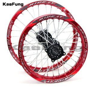 """Мотоциклетные колеса шины красный 12 мм или 15 мм REA 1,85-14 """"дюймовый фронт 1.60-17"""" алюминиевый сплав сплава обод для 160cc 150cc Dirt Pit Bike 14 17"""