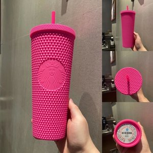 2021 Starbucks Double Barbie pink Durian Laser Straw Cup Tumblers Mermaid Plastic Cold Water Coffee Cups Gift Mug