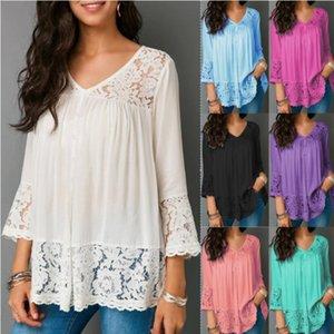 Европейская и американская весенняя сексуальная кружева шить рубашка V-образным вырезом три четверти рукава футболки