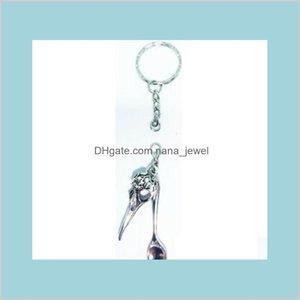 Gothic Witchcraft Bird Skull Charm Keychain Miniature Spoon Keyrings For Keys Car Bag Key Ring Handbag Pendant Couple Key Chains Ynjzg Dp9Tv