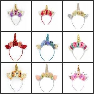 Единорог волосы палочки девушки красочные цветы с блестящими ушной сеткой unicorn волос на день рождения unicorn волосы unicorn палочки для волос детей 385 y2
