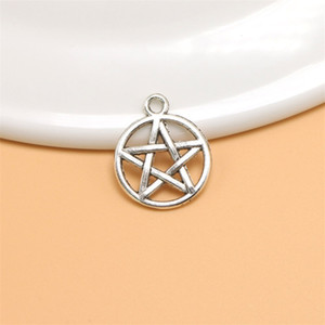 100pcs pentagram Alloy Charms Pendant Retro Jewelry Making DIY Keychain Ancient Silver   Bronze Pendant For Bracelet Earrings 20x16mm 188 R2