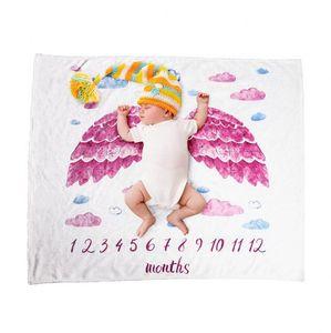 Baby Milestone Одеяло Eco-Friendly 70x102 см Фланелевые одеяла Путешествия Домашний Домашний кондиционер Печатная одеяло 7 стилей Zyy632
