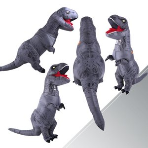 DULTO INFLTTBLE Costume Dinosur Costumi Grigio T Rex Blow Up Cy Dress Dress Moscot Costume da uomo per gli uomini Donne bambini Dino Crtoon