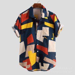 2019 new summer beach short sleeve men's printed shirt four colors
