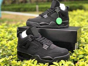 جودة عالية 4 أسود القط الرجال الأحذية المعدنية الأرجواني 4S bed الشراع الأحذية الرياضية البيضاء مع مربع CU1110-010 حجم 40-46