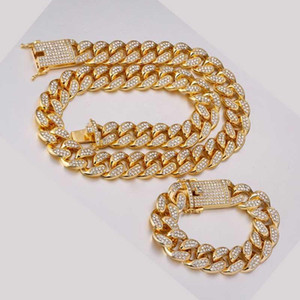 Wholesale Hip -Hop 1 Set Of 20 Mm Rhinestones Miami Cuban Chain Bling Rap Bracelet Bracelet Necklace Men 'S Jewelry Lj201007