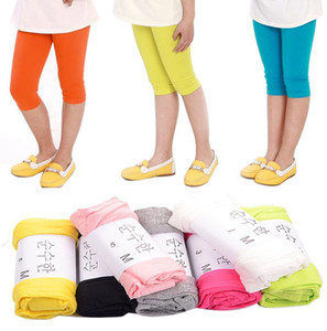 INS Kids Girls Yoga Pants Stretch Leggings Kids Soft Patterns Yoga Pants Ankle Length Girls Safety Pants Baby Short Tights KKA8342