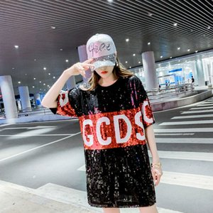 2020 Nuevas letras coreanas GCDS camiseta suelta corta mouwen bling brillante lentejuelas moda tamaño grande top tops largos para las mujeres