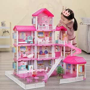 Play Dollhouse Kit Toys Simulation Princess Castle Set Doll House Furniture Toy for Girls