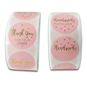 500pcs Round Labels Handmade Kraft Paper Pink Hot Gold Packaging Sticker Candy Bag Gift Box Packing Wedding Party Thanks Sticker