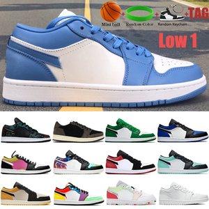 새로운 낮은 1 1 1 농구 신발 UNC 하이퍼 로얄 소나무 녹색 파리 넥타이 염료 트리플 백인 남성 남성 운동화 여성 트레이너 미국 5.5-11
