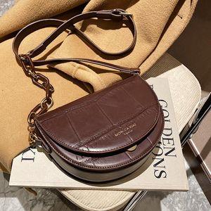 Vintage Women's Saddle Bags Designer Acrylic Chain Shoulder Crossbody Bag Luxury Stone Pu Leather Messenger Bag Retro Small Flap
