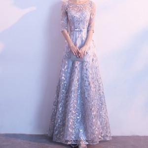 Hochwertiger Organza Abendkleid Elegante runde Hals Pailletten Spitze Mesh Stoff Stickerei Spitze Prom Party Kleid