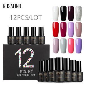 ROSALIND 12pcs set UV LED Nail Gel Polish Set Pure Colors Varnish Long Lasting Soak Off 7ml