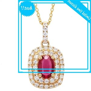 Vintage Female Rose Red Crystal Hanger Classic Gold Color Chain Chains for Women Luxury Oval zirconia Bruiloft jewellery