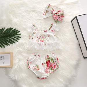 Children Flower Princess Outfits Summer Baby Girls Clothing Set Kids Lapel Short Sleeve Tops Coat +Cowboy shorts 2pcs Suits B023