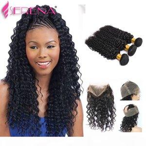 PREUCKED Бразильские девственные волосы с закрытием 360 кружевной фронтальный с расслоением Глубокая волна Человеческая вьющиеся эластичная лента кружева лобные вьющиеся волосы