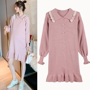 Maternity Dresses 5380# Nursing Clothing Loose Turn Down Collar Dress For Pregnant Women Pregnancy