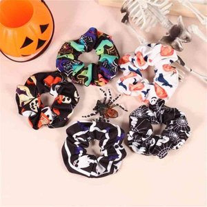 2021 Halloween Children's Hair Circle Simple Hair Rope Fashion Baby Grils Pumpkin Ghost Printed Band Headdress Accessories Gifts For kids G96K3IJ