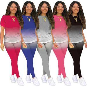 Womens sportswear short sleeve outfits 2 piece set women tracksuit jogging sport suit sweatshirt shirt leopard trousers suit klw0664