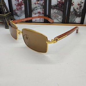 Classic Business Солнцезащитные очки Для мужчин Женщины Бамбук Реальный Деревянный Ног Ретро Винтаж Деревянные Свины Половина Рама Полнокамное Серебряное Золоту ЛюксДигер
