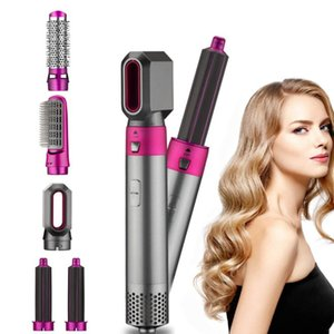 5 In 1 Electric Hair Dryer Negative Ion Straightener Brush Blow Dryer Air Hair Comb Wrap Curling Wand Detachable Brush Kit