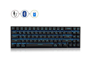 RK71 71 Keys Mechanical Gaming Keyboard, Wired Wireless Bluetooth Portable 70% LED Backlit Gaming Office Keyboard with Stand-Alone Arrow Key