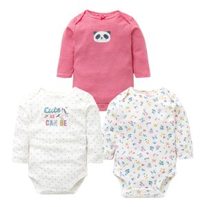 3PCS LOT Baby Bodysuits Autumn Top Quality Baby Girl Boy Clothes 100% Cotton Long Sleeve Underwear Infant Baby Jumpsuit 0-24M 210315