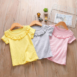 Kids Girls Solid Tops 3 Colors Lace Ruffle Leisure T-shirts Toddler Cotton Casual Big Girls Teens Summmer Clothes Teens Outfits