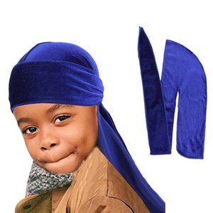 New Unisex Kids Velvet Durags Bandana Turban Hat Doo rag Waves Cap Headband Wraps Scarves Afrcian Boys Girls Fashion Head Scarf