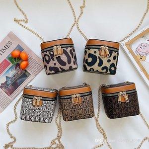 kids designer handbags Popular autumn winter girls leopard mini wallet children chain cross small bucket lipstick sinlge shoulder bag F777