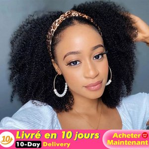 Afro Kinky Curly Headband Wigs Color 1B Long Wavy Headband Wig for Women Synthetic Curly Wig for Black Womenfactory direct