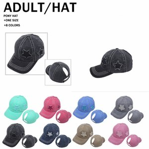 Newest 8 colors Five-Pointed Star Ponytail Baseball Cap Ripped Hole Cotton Trucker Hat Peak Caps Outdoor Street Sunscreen Tide Cap LLA456