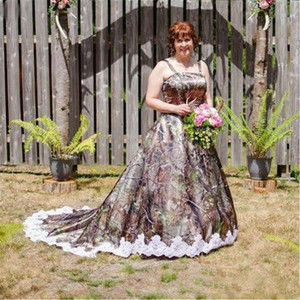 Plus Size Camo Wedding Dresses 2021 Spaghetti Lace Applique A Line Bridal Gowns Court Train Camo Wedding vestidos de novia