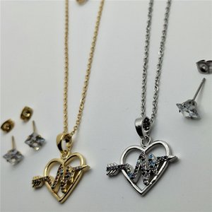 Factory Outlet Womens Jewelry Gifts Stainless Steel Fashion Necklace Love Fashion Necklace Pendant with Earrings Jewelry